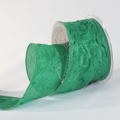 """Forest Green Crinkled Satin Wired Craft Ribbon 2"""" x 27 Yards - IMAGE 1"""