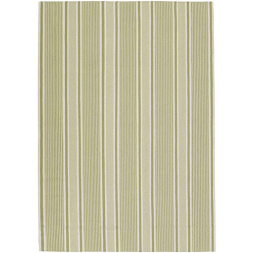 3.5' x 5.5' Elegant Striped Lime Green and White Hand Woven Rectangular Wool Area Throw Rug - IMAGE 1