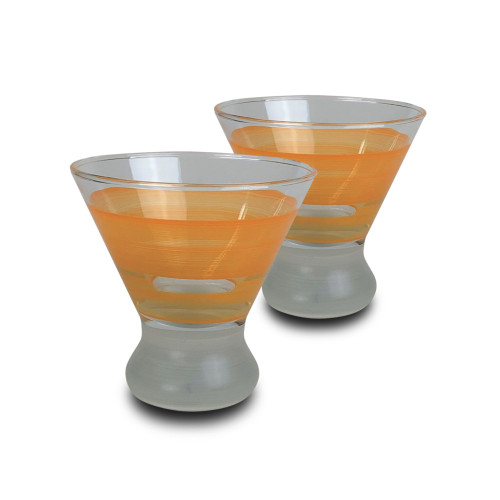 Set of 2 Orange and Clear Striped Cosmopolitan Wine Glasses 8.25 oz. - IMAGE 1
