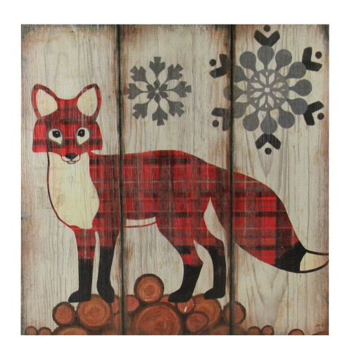 """13.75"""" Alpine Chic Plaid Red Fox on Lumber with Snowflakes Wall Art Plaque - IMAGE 1"""