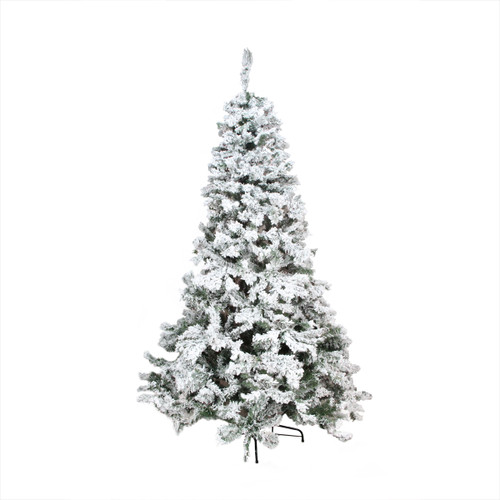 9' Medium Heavily Flocked Pine Artificial Christmas Tree - Unlit - IMAGE 1
