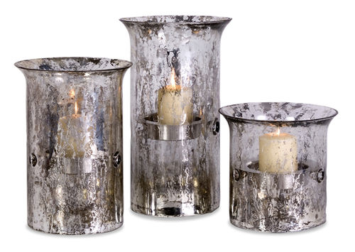 """Set of 3 Silver Colored Votive Candle Holders 15"""" - IMAGE 1"""