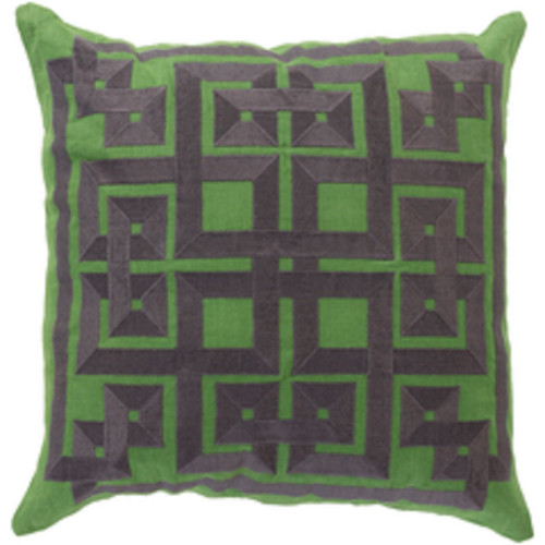 """22"""" Scrollier Charcoal Gray and Green Alemeda Decorative Square Throw Pillow - Poly Filled - IMAGE 1"""