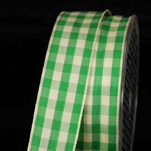 """Green and Ivory Gingham Wired Woven Edge Craft Ribbon 1.5"""" x 27 Yards - IMAGE 1"""