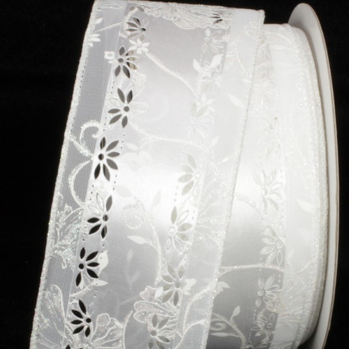 "White Embossed Margaritte Wired Craft Ribbon 2.5"" x 20 Yards - IMAGE 1"