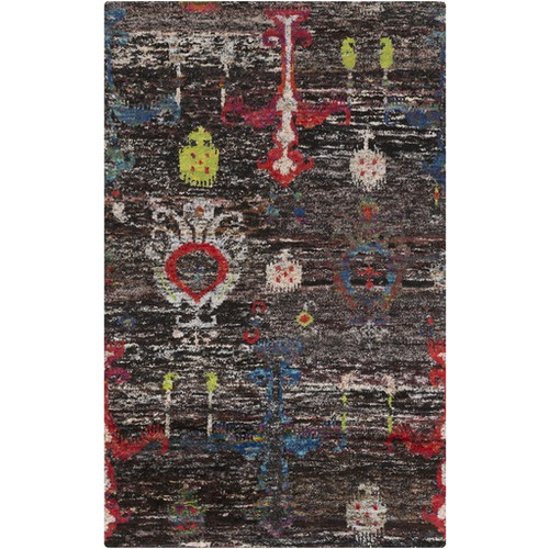 2' x 3' Grease Black and Red Distressed Hand Knotted Rectangular Area Throw Rug - IMAGE 1