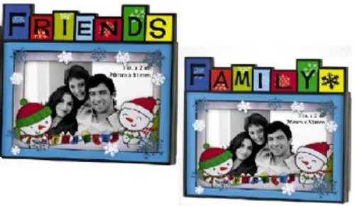 "Set of 2 Blue and Red 'FAMILY' or 'FRIENDS' Photo Frame Message Christmas Ornaments 3.5"" - IMAGE 1"