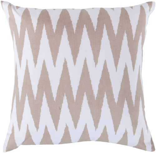 "18"" White and Brown Square Throw Pillow - Poly Filled - IMAGE 1"