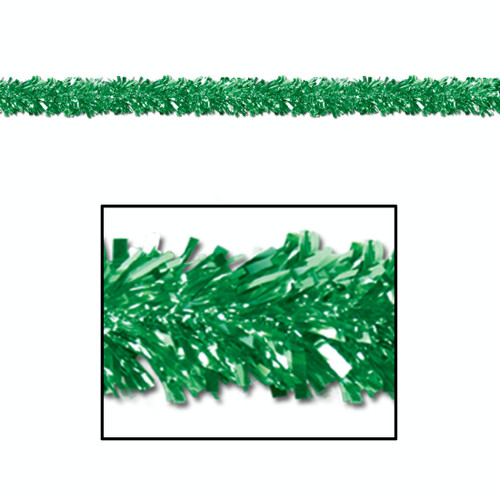 Club Pack of 12 Shiny Metallic Green Foil Tinsel 6-Ply St. Patrick's Day Garlands 15' - Unlit - IMAGE 1