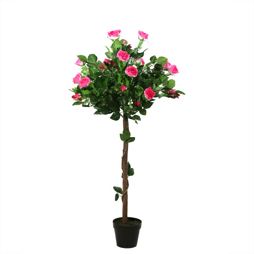 """47"""" Potted Green and Pink Artificial Rose Tree - IMAGE 1"""