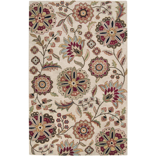 9' x 12' Floral Beige and Red Rectangular Area Throw Rug - IMAGE 1