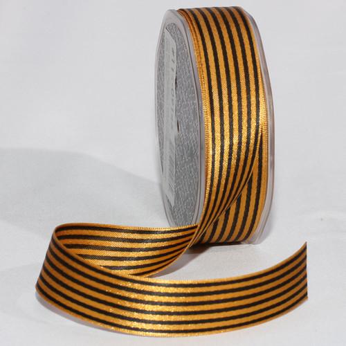 "Gold Contemporary Stripe Craft Ribbon 1"" x 108 Yards - IMAGE 1"