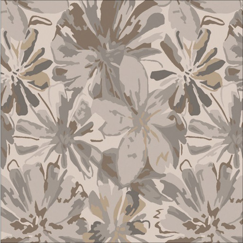 4' x 4' Floral Brown and Gray Hand Tufted Contemporary Square Wool Area Throw Rug - IMAGE 1