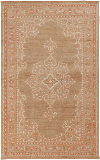5.5' x 8.5' Caramel Brown and Pale Gray Hand Knotted Rectangular Wool Area Throw Rug - IMAGE 1
