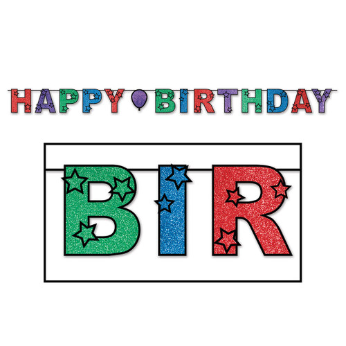 """Club Pack of 12 Colorful Glittered Foil """"Happy Birthday"""" Party Streamer Banners 10' - IMAGE 1"""