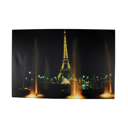 """LED Lighted Eiffel Tower with Fountains Canvas Wall Art 15.75"""" x 23.5"""" - IMAGE 1"""