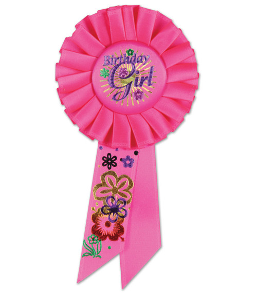 """Pack of 6 Pink """"Birthday Girl"""" Party Celebration Rosette Ribbons 6.5"""" - IMAGE 1"""