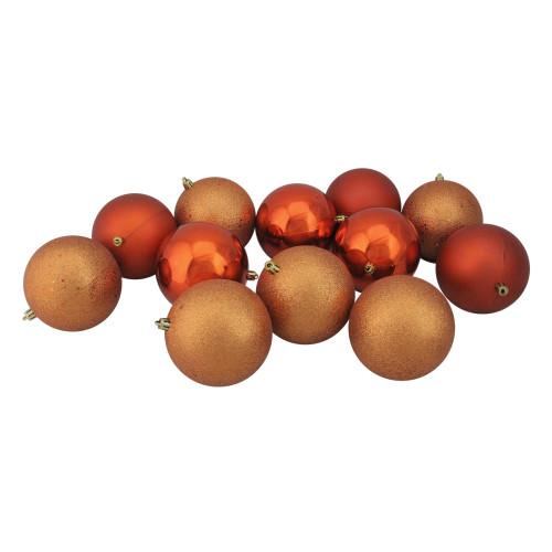 "12ct Burnt Orange Shatterproof 4-Finish Christmas Ball Ornaments 4"" (100mm) - IMAGE 1"