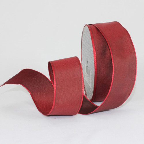 "Burgundy Red Solid Wired Craft Ribbon 1.5"" x 27 Yards - IMAGE 1"