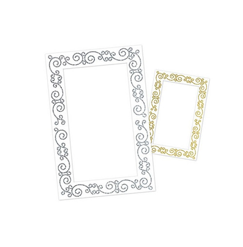 """Pack of 12 Silver and Gold Glittered Fun Photo Frames 23.5"""" - IMAGE 1"""