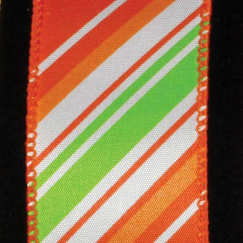"Orange and Green Candy Stick Striped Wired Craft Ribbon 1.5"" x 40 Yards - IMAGE 1"