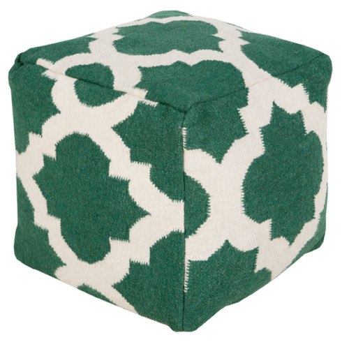 18' Forest Green and Ivory Spaded Spheres Wool Rectangular Pouf Ottoman - IMAGE 1