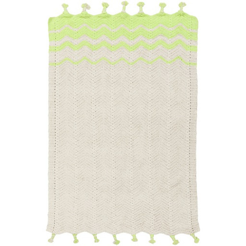 5' x 8' Beige and Lime Green Contemporary Hand Woven Rectangular Area Throw Rug - IMAGE 1