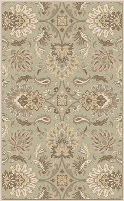 7.5' x 9.5' Cornelian Dove Gray and Green Contemporary Hand Tufted Wool Area Throw Rug - IMAGE 1