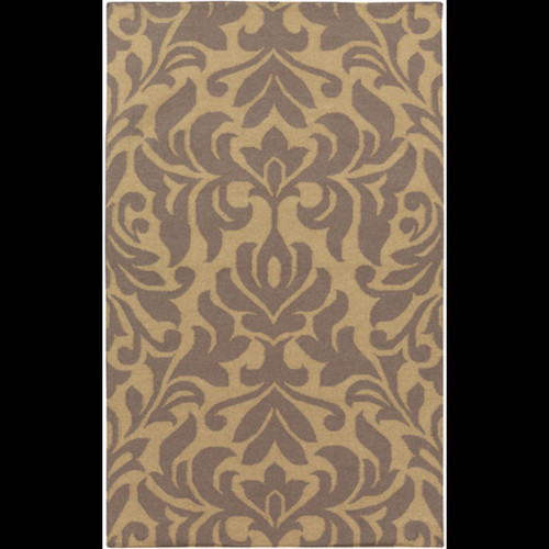 8' x 11' Brown Floral Hand Woven Rectangular Area Throw Rug - IMAGE 1
