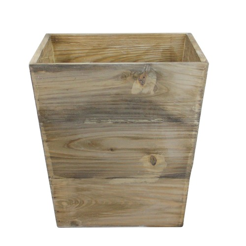 "13.75"" Country Rustic Natural Wood Storage Bin Container - IMAGE 1"