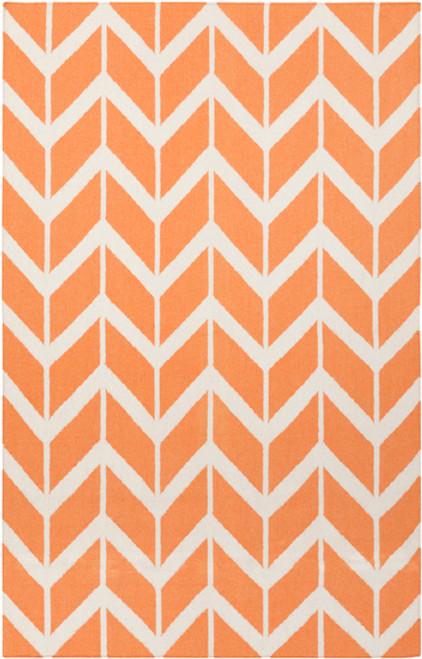 3.5' x 5.5' Chevron Pathway Orange and White Hand Woven Rectangular Wool Area Throw Rug - IMAGE 1