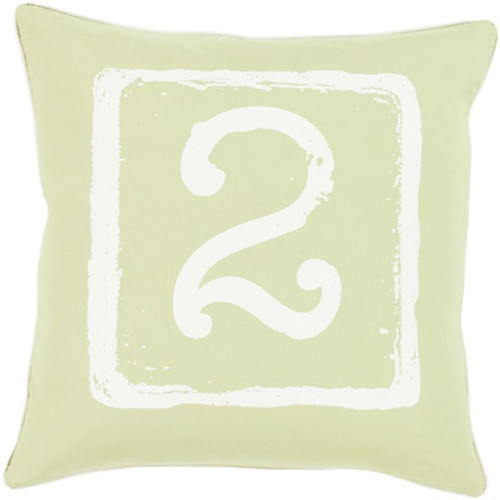 """22"""" Cream White and Lime Green """"2"""" Big Kid Blocks Decorative Throw Pillow - Down Filler - IMAGE 1"""