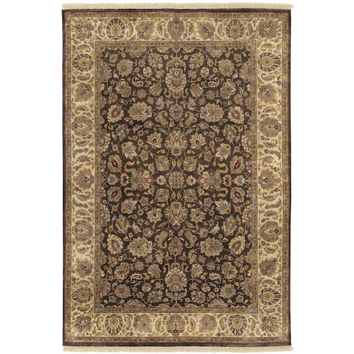 5.5' x 8.5' Aberdeen Rust Brown and Olive Green Hand Knotted Wool Area Throw Rug - IMAGE 1