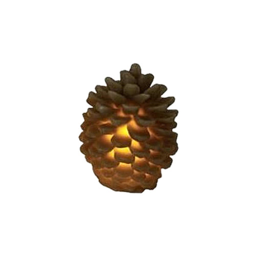 "3.75"" Brown Battery Operated Flameless LED Lighted Flickering Pine Cone Christmas Candle - IMAGE 1"