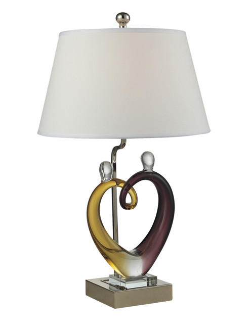 """27.5"""" Purple and White Hearts Sculpture Hand Crafted Accent Table Lamp - IMAGE 1"""