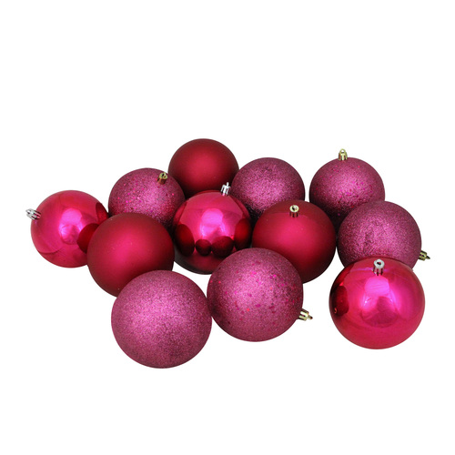 "12ct Magenta Pink 4-Finish Shatterproof Christmas Ball Ornaments 4"" (100mm) - IMAGE 1"