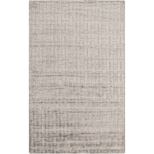 2' x 3' Mystical Labyrinth Gray and White Hand Knotted Rectangular Area Throw Rug - IMAGE 1