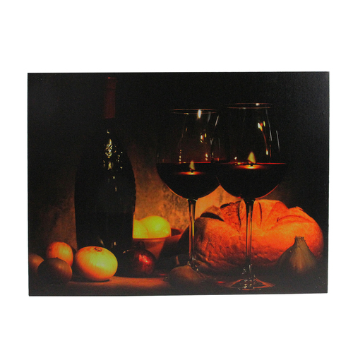 """Orange LED Lighted Flickering Wine, Bread, and Candles Canvas Wall Art 15.75"""" x 11.75"""" - IMAGE 1"""