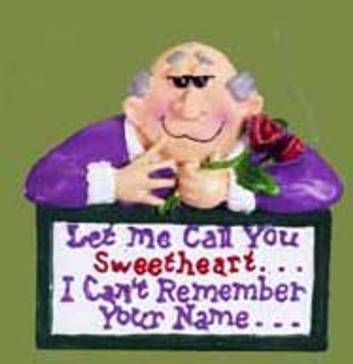 """Purple and Red Funny Senior Moment Romantic Man Christmas Ornament 4"""" - IMAGE 1"""