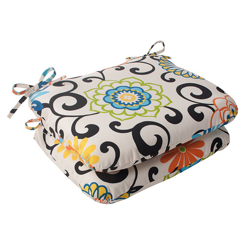 """Set of 2 Ivory and Black Filigree Patterned Spunky Flowers Outdoor Patio Seat Cushions 18.5"""" - IMAGE 1"""