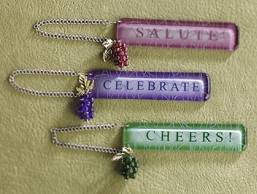"""7.5"""" Green Wine Themed Grapes """"CHEERS!"""" Bottle Tag Christmas Ornament - IMAGE 1"""