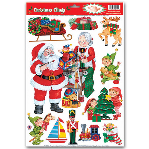 """Club Pack of 132 Assorted Santa's Workshop Window Clings Christmas Decorations 17"""" - IMAGE 1"""
