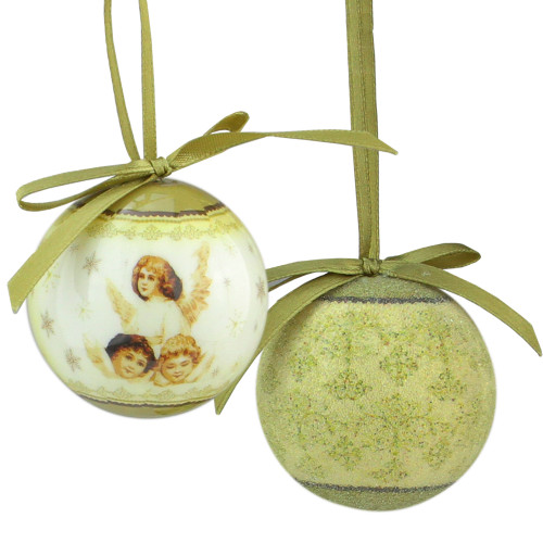 """12ct Green and White Angel Decoupage Shatterproof Christmas Ball Ornament 1.75"""" (40mm) - IMAGE 1"""