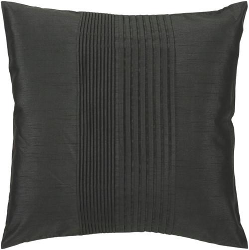 "22"" Black Pearl Tuxedo Pleats Decorative Throw Pillow - Down Filler - IMAGE 1"