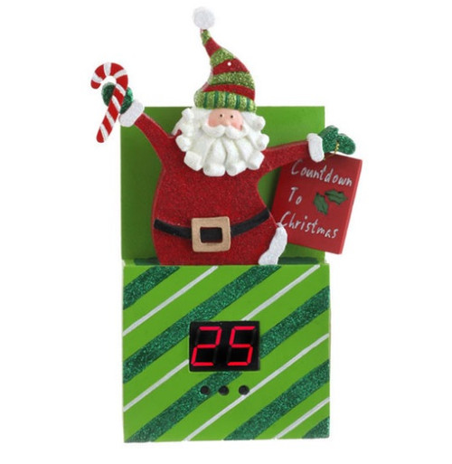 """8.75"""" Green and Red Diagonal Striped Santa Claus Pop Up Present Countdown Christmas Ornament Decor - IMAGE 1"""