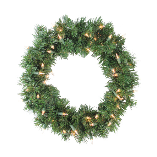 """16"""" Pre-Lit Deluxe Windsor Pine Artificial Christmas Wreath - Clear Lights - IMAGE 1"""