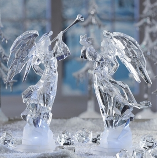 """Set of 2 Clear Decorative LED Lighted Icy Angel Sculpture Table Top Figurines 11"""" - IMAGE 1"""