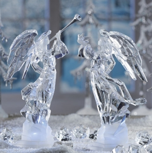 "Set of 8 Clear Decorative LED Lighted Icy Angel Sculpture Table Top Figurines 11"" - IMAGE 1"