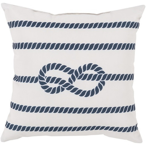 """20"""" White and Cobalt Blue Contemporary Square Outdoor Throw Pillow Cover - IMAGE 1"""