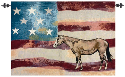 """Wine Red and Blue American Flag with Horse Wall Art Hanging Tapestry 26"""" x 36"""" - IMAGE 1"""